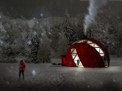 真っ赤な外壁も似合うドームハウス